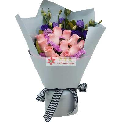 爱永恒/12枝粉玫瑰