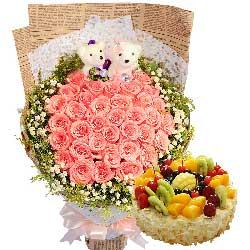 爱的指数/33枝粉玫瑰+蛋糕