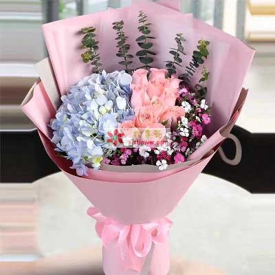 爱你一辈子/11枝粉玫瑰绣球