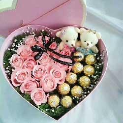爱你永不变/29枝玫瑰礼盒:永远呵护你/17枝粉玫瑰巧克力
