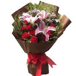 感激母亲/11枝红色康乃馨,2枝多头粉色百合