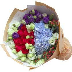 真心陪伴/99枝香槟玫瑰:一爱到底/11枝红色玫瑰桔梗绣球