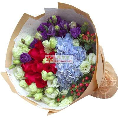 一爱到底/11枝红色玫瑰桔梗绣球