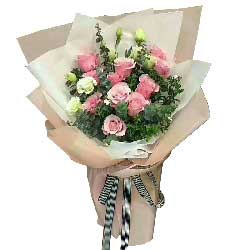 11枝玫瑰+百合/心情:生生世世的爱/11枝粉玫瑰