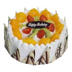 蛋糕/两两相依:珍重情意/8寸圆形鲜奶水果蛋糕