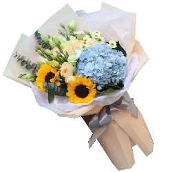 父爱/9枝香槟玫瑰、桔梗、向日葵、绣球花