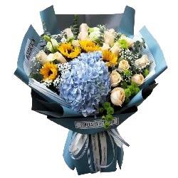 祝愿您永远安康/19枝香槟玫瑰向日葵绣球花