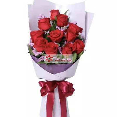 11枝红色玫瑰,粉色勿忘我、橛子叶丰满;