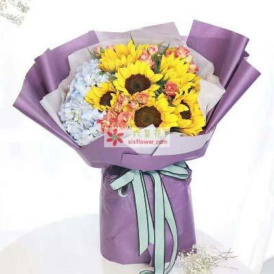 6枝向日葵,2只蓝色绣球花,狂欢泡泡搭配(或桔梗花)