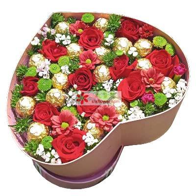 甜蜜爱情/11枝红色玫瑰礼盒巧克力
