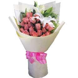 你是我的心上人/19枝艳粉玫瑰百合