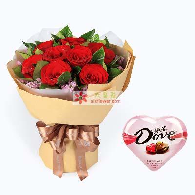 时刻爱你/11枝红玫瑰巧克力