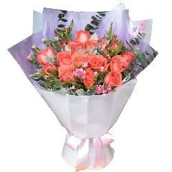 心心相印的爱情/19枝粉色玫瑰