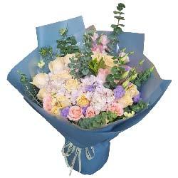 温馨与幸福/8枝粉色多头百合:一生平安健康/28枝玫瑰