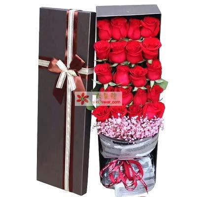 思念的浪花/21枝红玫瑰礼盒