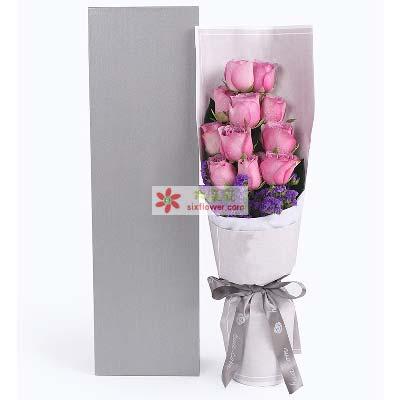 真的好牵挂你/11枝紫色玫瑰礼盒