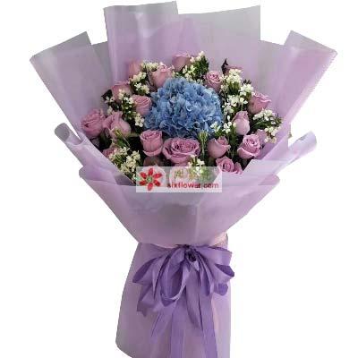 爱的五线谱/21枝紫色玫瑰绣球花
