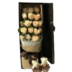爱的温暖/19枝香槟玫瑰礼盒