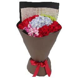幸福爱下去/21枝红玫瑰绣球花