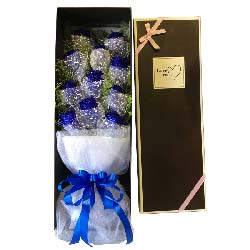 你是最美音符/11枝蓝色玫瑰礼盒