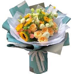 衷心祝愿/9枝向日葵,9枝香槟玫瑰