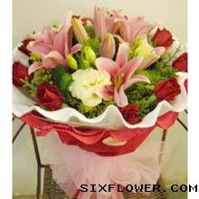 9枝红玫瑰+百合/真情祝福
