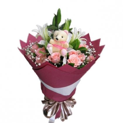悄悄说爱我/19枝粉玫瑰