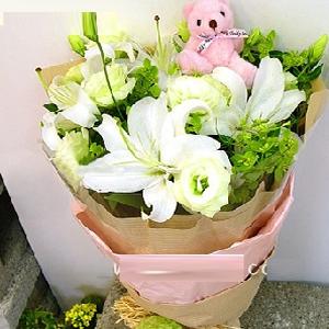 爱意无边_9支白玫瑰+百合