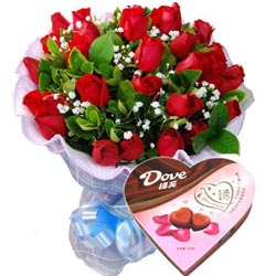 27支红玫瑰+巧克力_爱妻