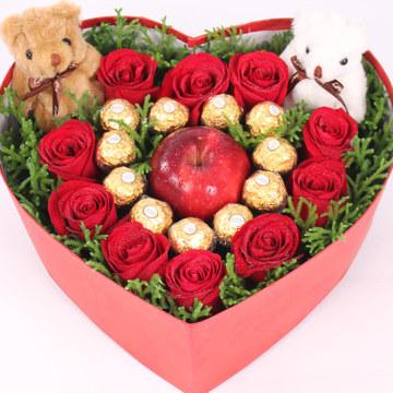 11支红色玫瑰,苹果玫瑰礼盒装,一生一世永恒的爱