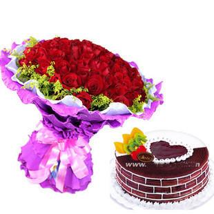 99支玫瑰+蛋糕/组合花卉-奇迹