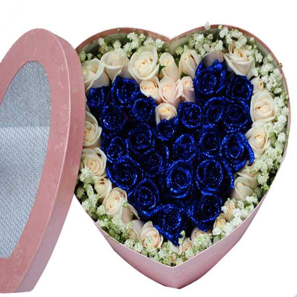 一生不动摇/21支蓝玫瑰花盒