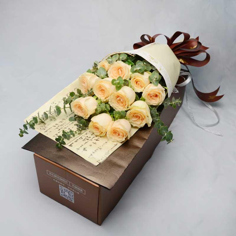 无声的爱/11支香槟玫瑰礼盒