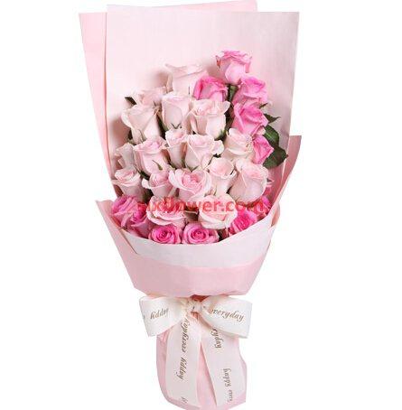 心有灵犀/29支粉色玫瑰