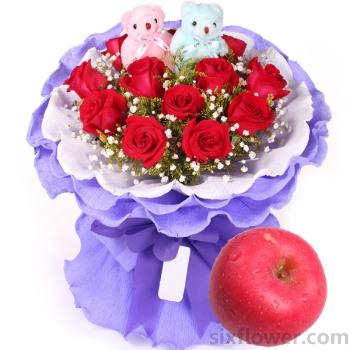 幸福无边/11支红玫瑰+苹果