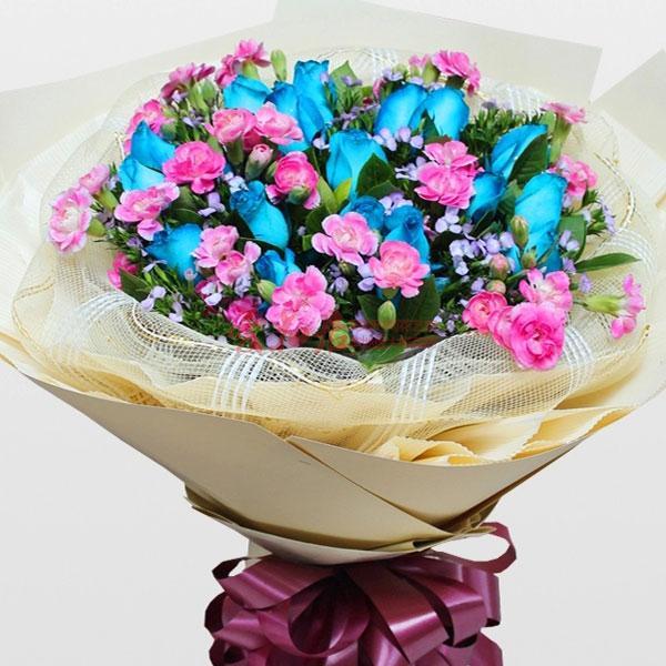 相识相知相爱/16支蓝色玫瑰