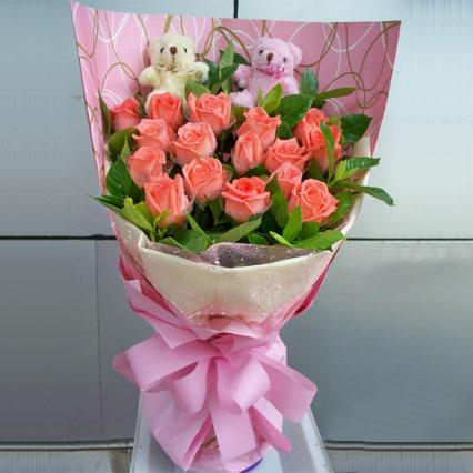 在乎的人/16支粉玫瑰