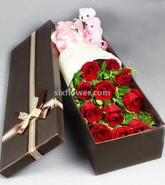 我只在乎你/11支盒装红玫瑰