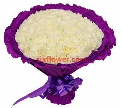 爱的水波/99枝白色玫瑰