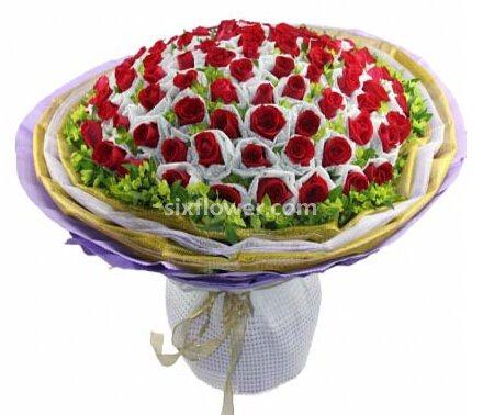 心灵的静远/66枝红玫瑰单枝包装