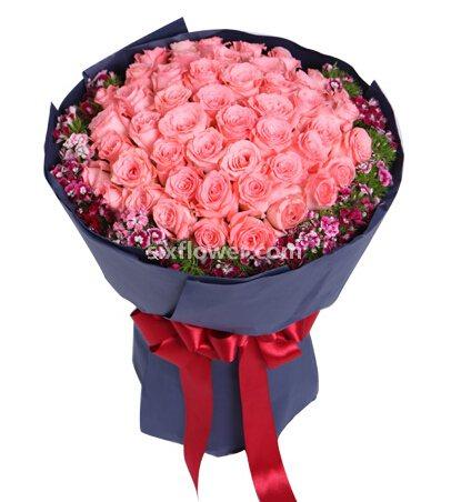 戴安娜粉玫瑰50支/因为爱你,所以浪漫