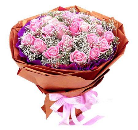 26枝粉玫瑰/爱坚持到永远