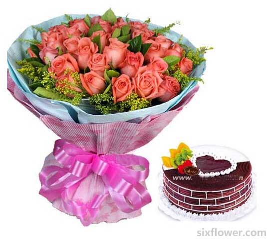 心灵的交汇/33支玫瑰蛋糕组合