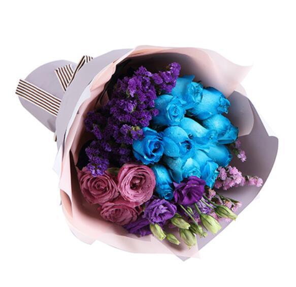 色彩缤纷的爱/12枝蓝紫玫瑰