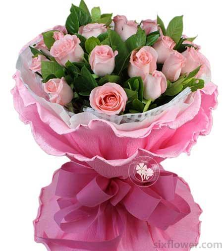 挚爱今生非你不可/19支粉色超级玫瑰