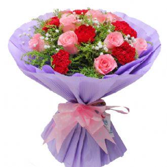 祝您永远快乐/9支玫瑰+9支康乃馨