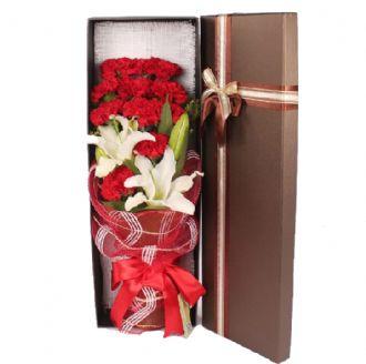 节日快乐/康乃馨盒装花束