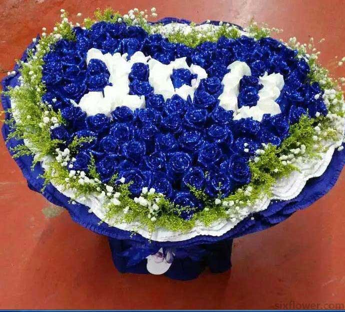 99支蓝白玫瑰/湛蓝色的爱恋