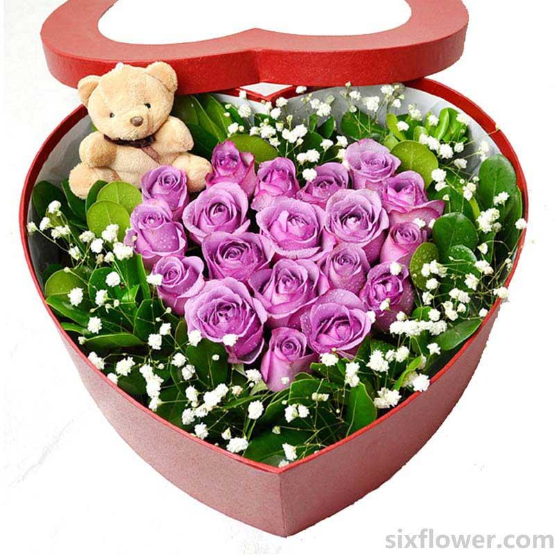 心形花盒/19枝紫玫瑰