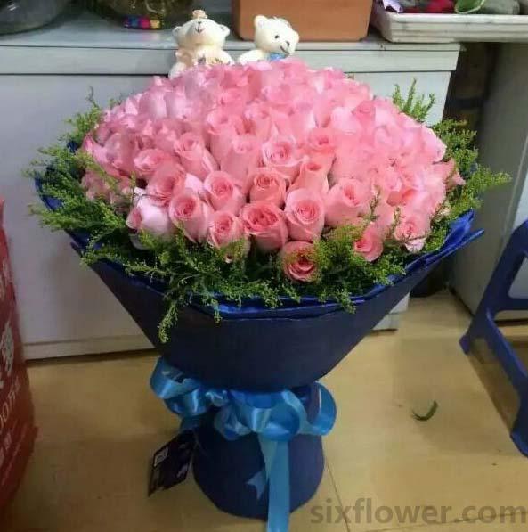 想你的梦依旧/99枝粉色玫瑰